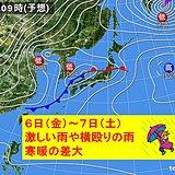 金曜〜土曜 激しい雨や横殴りの雨に注意