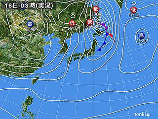 16日 季節風強まる 日本海側は雪や吹雪
