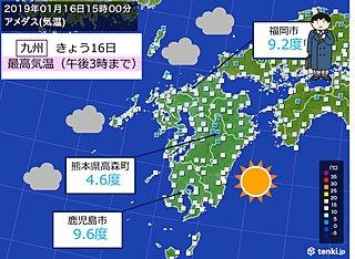 昼間も厚手のコートが必要な寒さ 九州