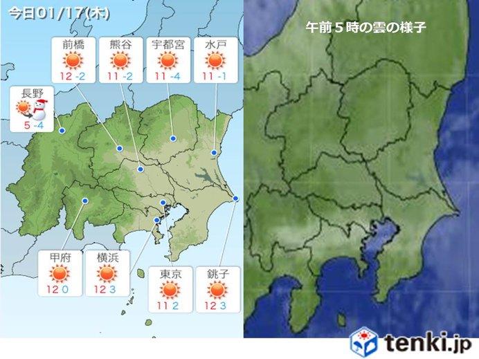17日 関東 晴天続く 日差しに温もり