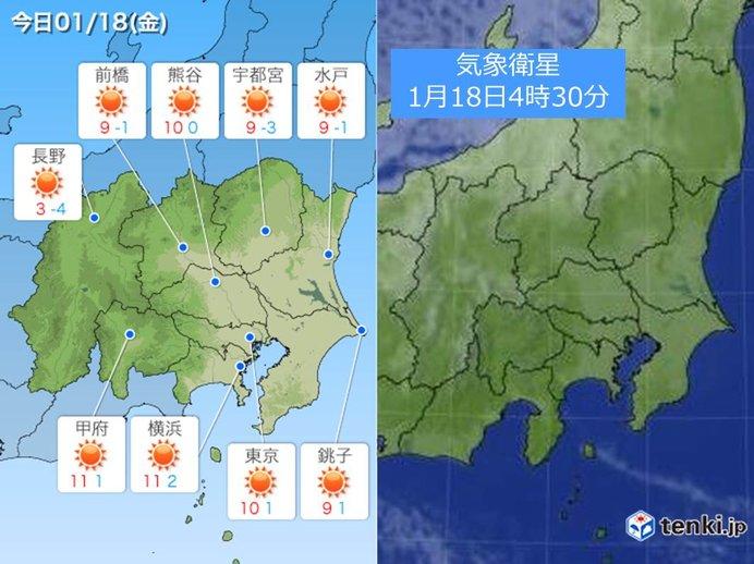 18日の関東 青空でも 空気の乾燥に注意