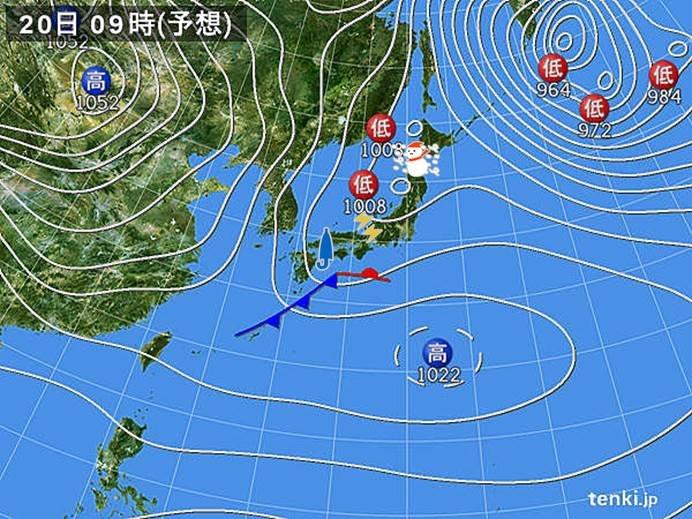 北日本日本海側ではふぶく所も