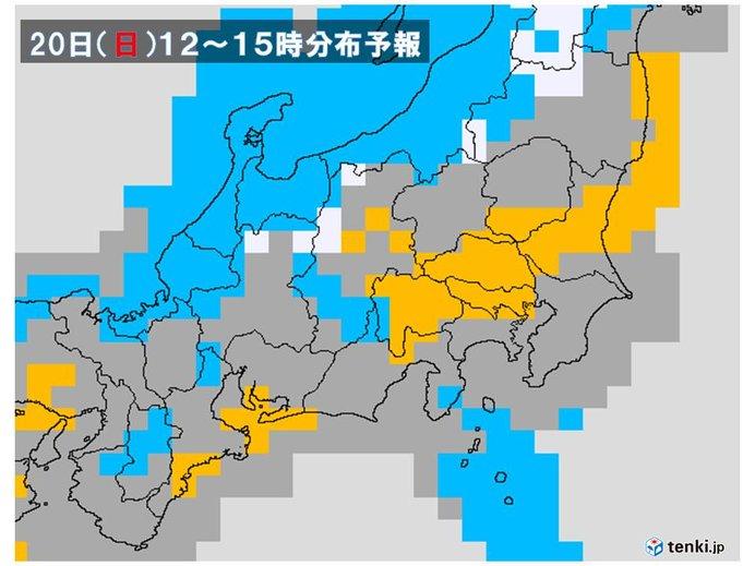 雨雲は関東山地がブロック