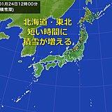 北海道・東北 短時間に積雪急増 暴風も