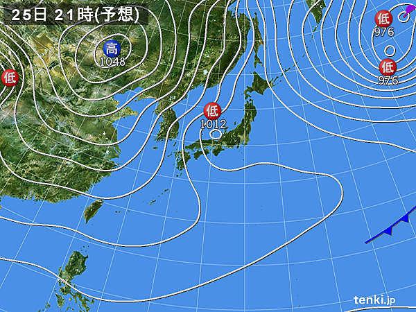 25日 夜は関東以西の平地も所々で雪に