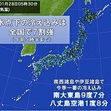 今朝 沖縄の南大東島も10度未満に