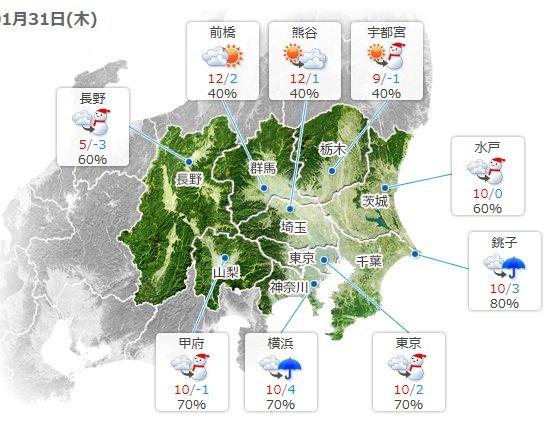 31日 関東 夜は南部を中心に雪や雨