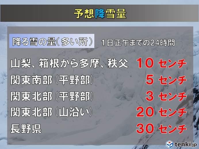関東南部に大雪情報も