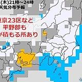都心も夜遅く雪 東京23区で積もる所あり