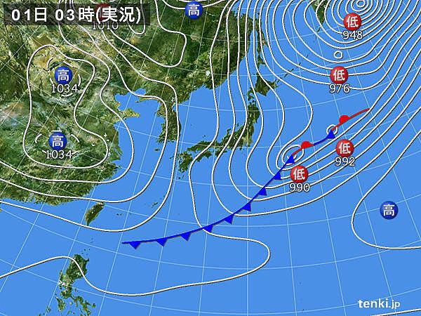 1日 北風強い 晴れる所も万全の防寒を