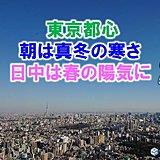 東京都心 朝は冬、昼は春の陽気 寒暖差大