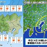 5日 関東 前日との気温差10度前後に