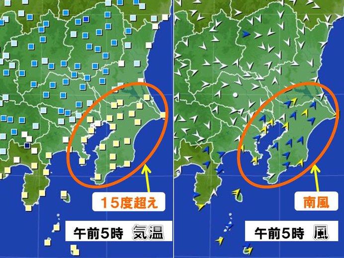 千葉と神奈川は全地点で南寄りの風、気温は15度前後