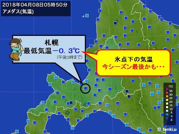 札幌 今季最後の氷点下か