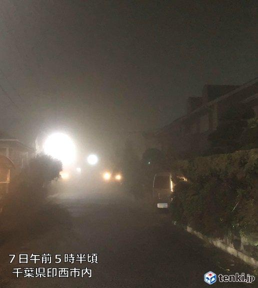 きのうの雨の名残り あちらこちらで放射霧