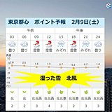 9日の東京都心 雪の特徴 昼も体感氷点下
