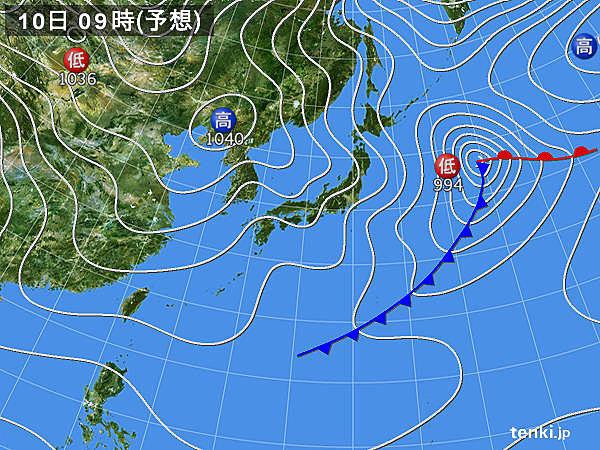 10日(日) 広く北風 西日本の日本海側は強風