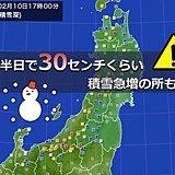 日本海側 山沿いを中心に 積雪急増