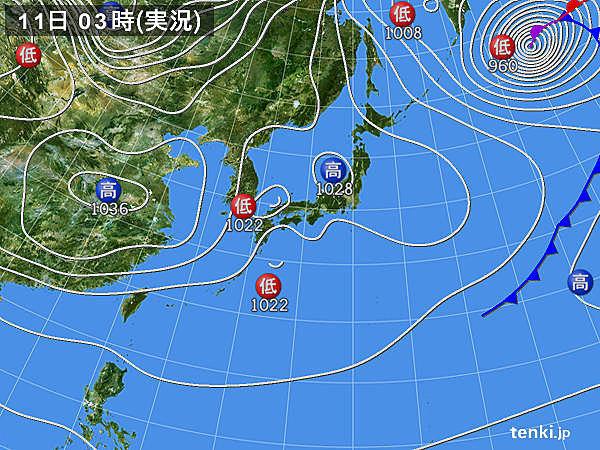 11日 各地傘の出番 四国や関東は大雪も