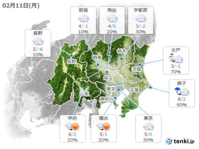 11日(月)午後の天気【関東】