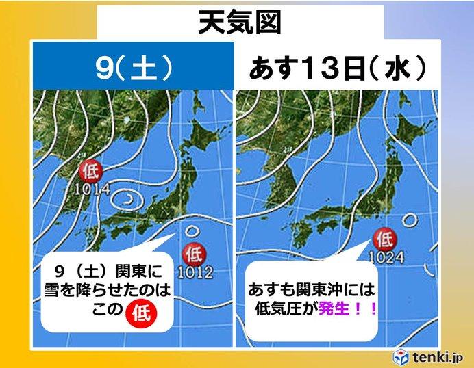あす13日 怪しげな低気圧が再び関東沖に