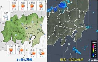 14日の関東 南部ほど雲多い 真冬の寒さ
