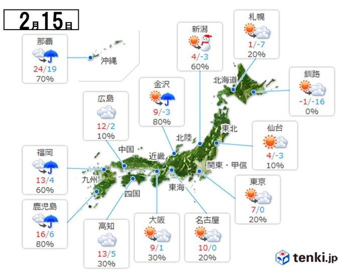 日本気象協会発表 あす15日の天気