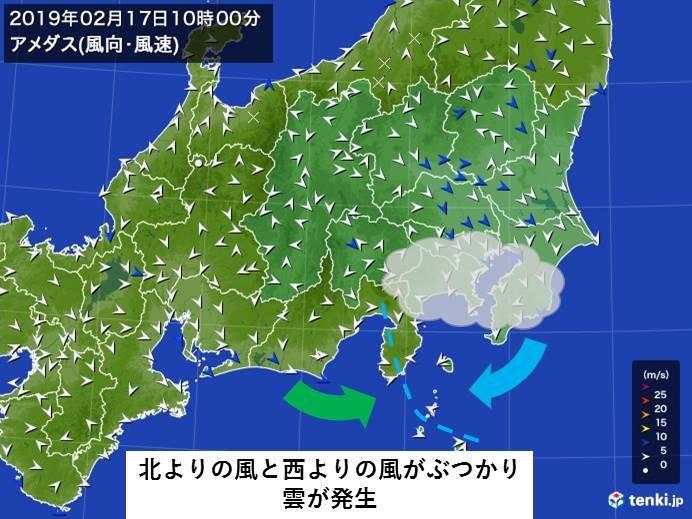 関東南部 何で午前中は雲が多かったの?
