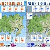 18日 関東 全域晴天 春らしい陽気