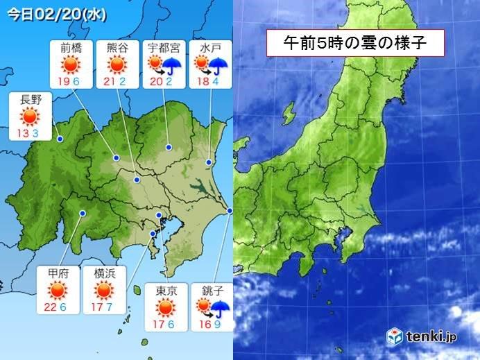 関東 雨あがりの晴天 気温上昇 花粉飛散