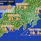 関東・東海 気温急上昇 既に20度超えも