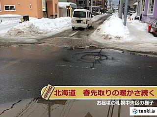 北海道 季節先取りの陽気続く 雪どけ注意
