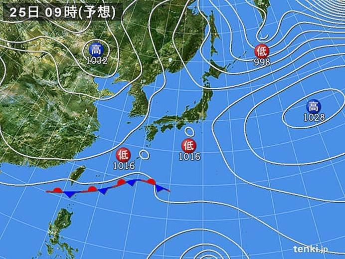 低気圧が南の海上を東進