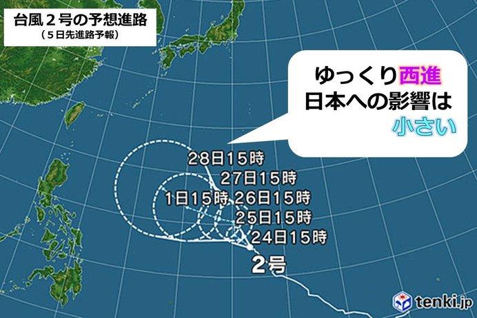 台風2号 現在の状況と予想進路