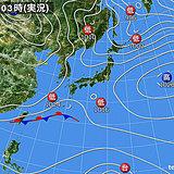 25日 関東や九州南部に春の雨
