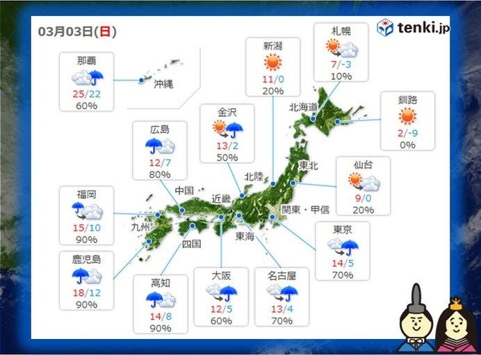 3日(日) 雨の範囲東へ広がる