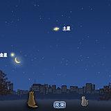 明け方 金星に細い月が大接近