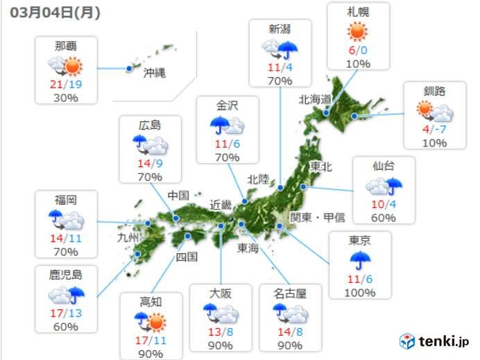 4日(月) 全国の天気