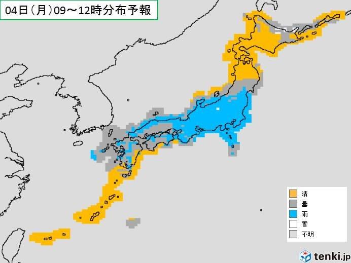 4日(月)東・西日本で雨が続く