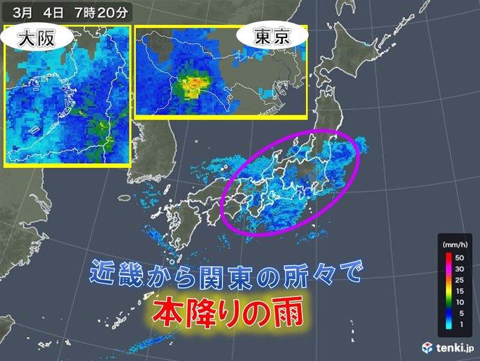 近畿から関東の所々で本降りの雨