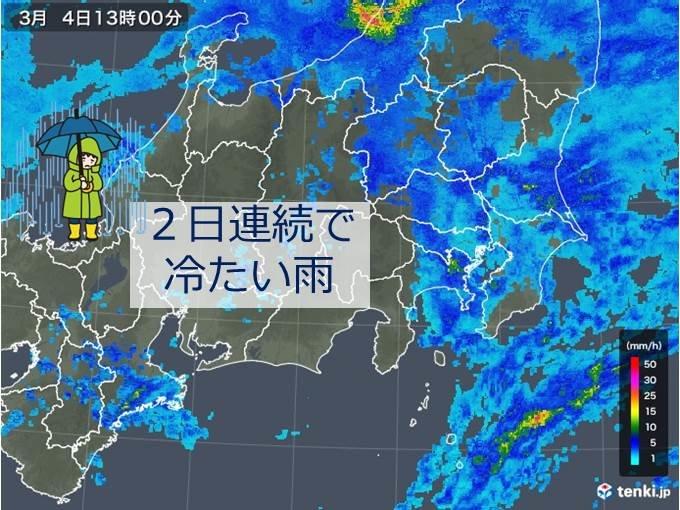 関東 雨と真冬の寒さ続く 都心10度未満