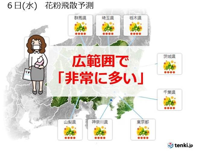 関東 花粉飛散ペース早い 水曜さらに飛ぶ
