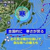 全国で寒さ戻る 北は雪 関東以西は所々でにわか雨