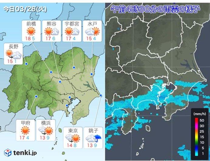 26日 関東 沿岸部は昼頃まで雨の...