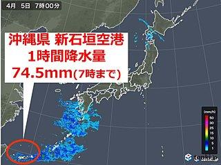 沖縄・新石垣空港 1時間降水量 全国今年1番の大雨
