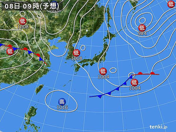 8日(月) 関東付近で大気の状態不安定