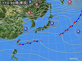 17日 西・東は天気下り坂 北は晴れ間