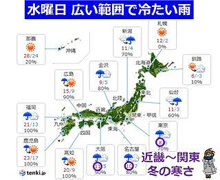 水曜は冷たい雨 大阪・名古屋・東京 日中10度前後