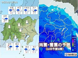 関東10日 冷たい雨の一日に 内陸は雪の所も