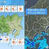 12日の関東 ヒンヤリ 傘マークがなくても雨の所も